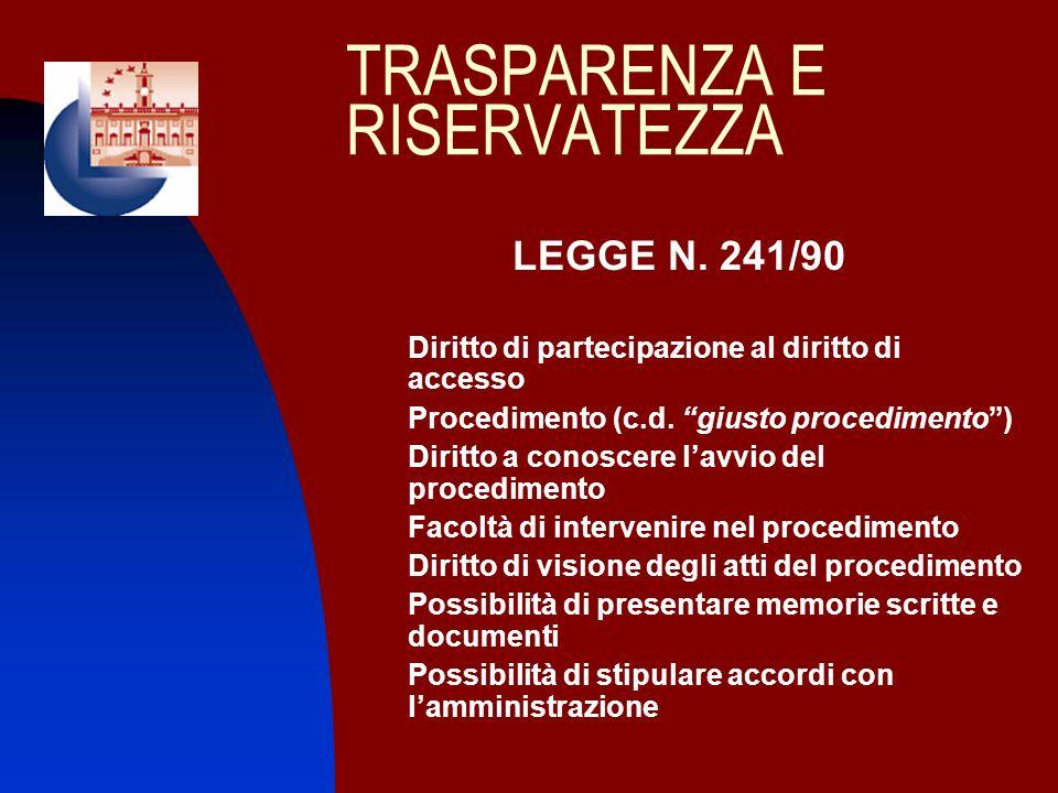 TRASPARENZA E RISERVATEZZA LEGGE N. 241/90 Diritto di partecipazione al diritto di accesso Procedimento (c.d. giusto procedimento) 1. Diritto a conosc