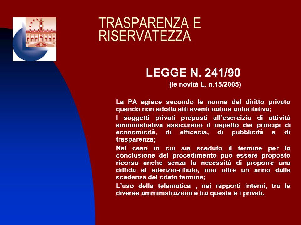 TRASPARENZA E RISERVATEZZA LEGGE N. 241/90 (le novità L. n.15/2005) 1. La PA agisce secondo le norme del diritto privato quando non adotta atti aventi