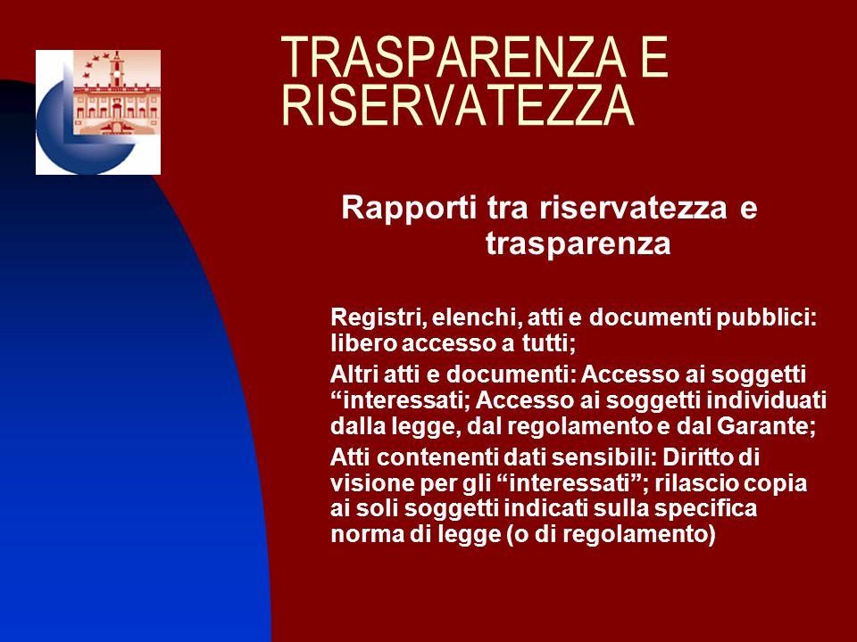 TRASPARENZA E RISERVATEZZA Rapporti tra riservatezza e trasparenza Registri, elenchi, atti e documenti pubblici: libero accesso a tutti; Altri atti e