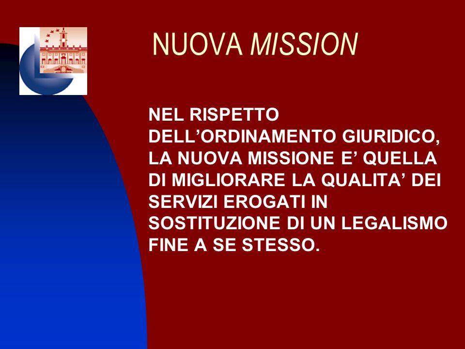 NUOVA MISSION NEL RISPETTO DELLORDINAMENTO GIURIDICO, LA NUOVA MISSIONE E QUELLA DI MIGLIORARE LA QUALITA DEI SERVIZI EROGATI IN SOSTITUZIONE DI UN LE