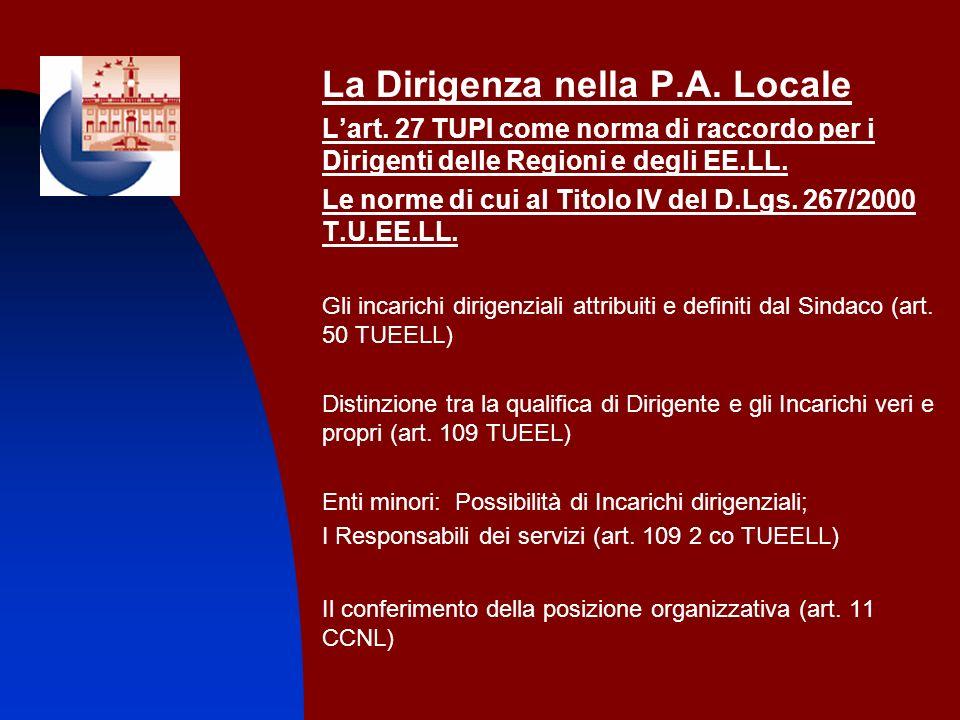La Dirigenza nella P.A. Locale Lart. 27 TUPI come norma di raccordo per i Dirigenti delle Regioni e degli EE.LL. Le norme di cui al Titolo IV del D.Lg