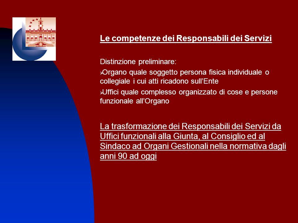 Le competenze dei Responsabili dei Servizi Distinzione preliminare: Organo quale soggetto persona fisica individuale o collegiale i cui atti ricadono