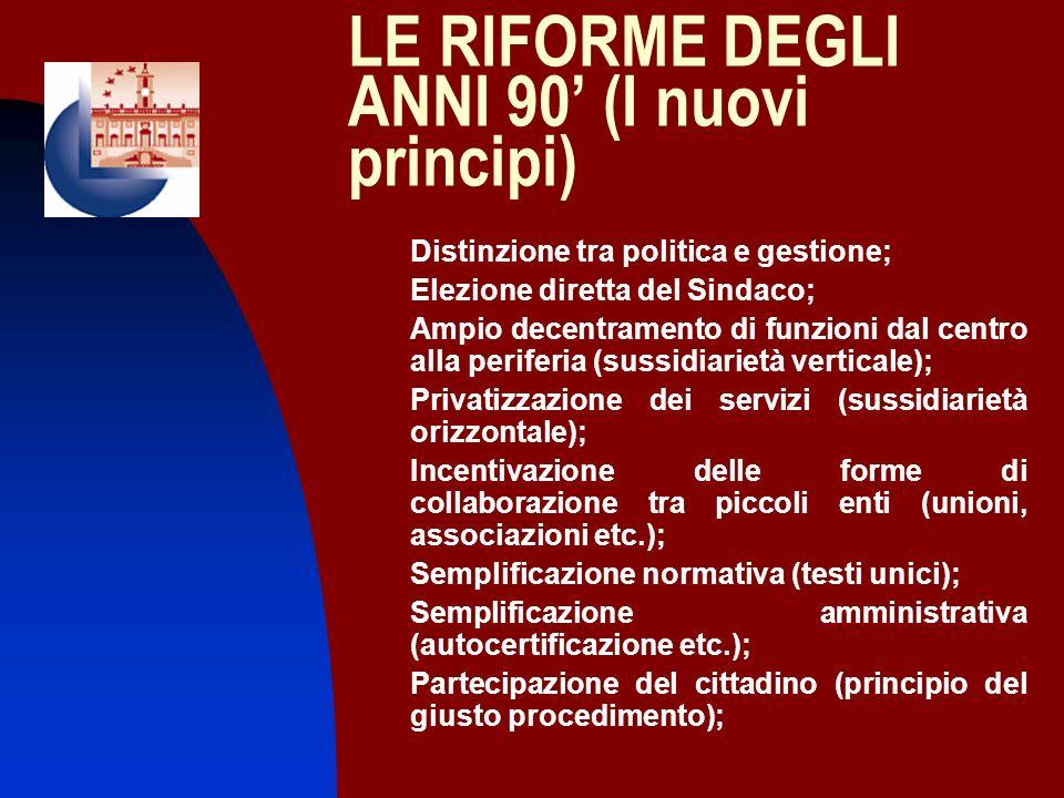 LE RIFORME DEGLI ANNI 90 (I nuovi principi) 1. Distinzione tra politica e gestione; 2. Elezione diretta del Sindaco; 3. Ampio decentramento di funzion