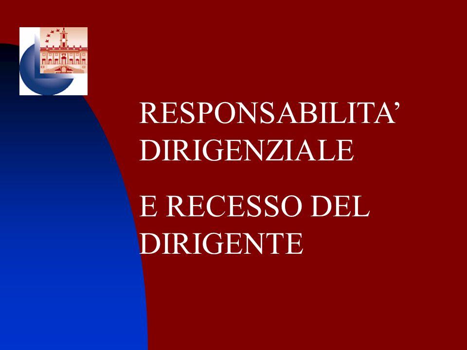 RESPONSABILITA DIRIGENZIALE E RECESSO DEL DIRIGENTE