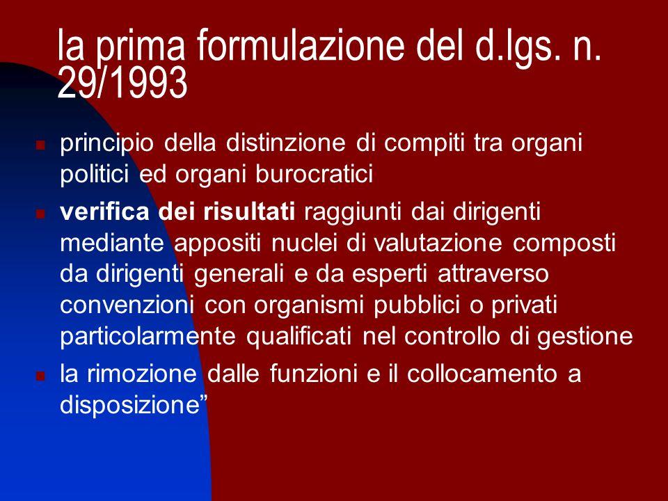 la prima formulazione del d.lgs. n. 29/1993 principio della distinzione di compiti tra organi politici ed organi burocratici verifica dei risultati ra