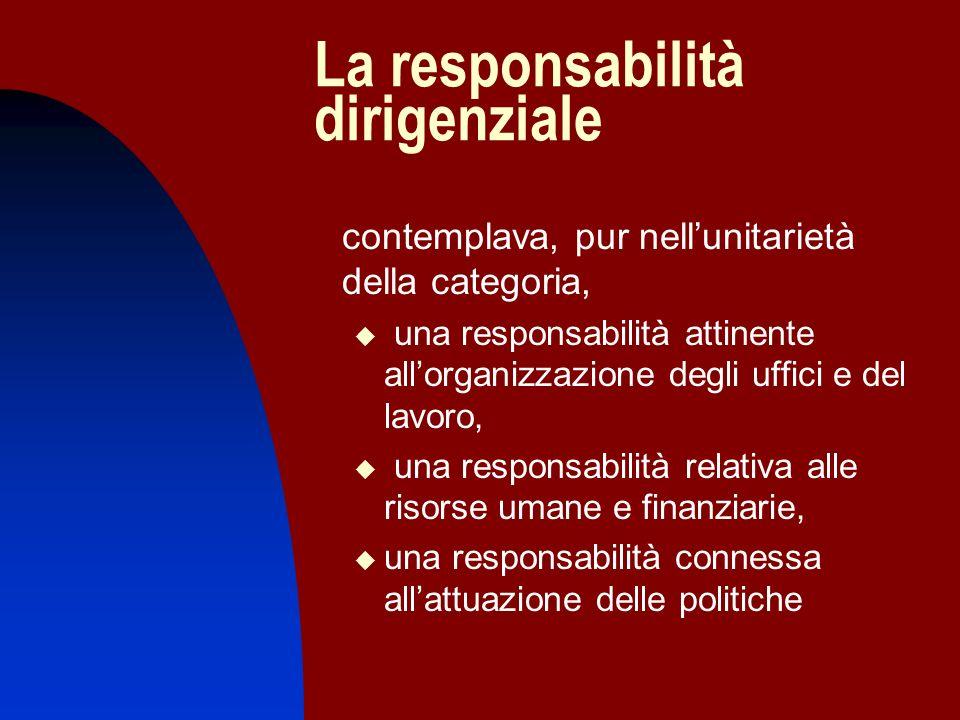 La responsabilità dirigenziale contemplava, pur nellunitarietà della categoria, una responsabilità attinente allorganizzazione degli uffici e del lavo