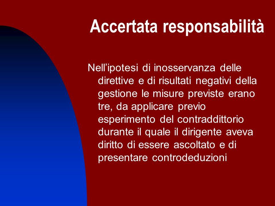 Accertata responsabilità Nellipotesi di inosservanza delle direttive e di risultati negativi della gestione le misure previste erano tre, da applicare