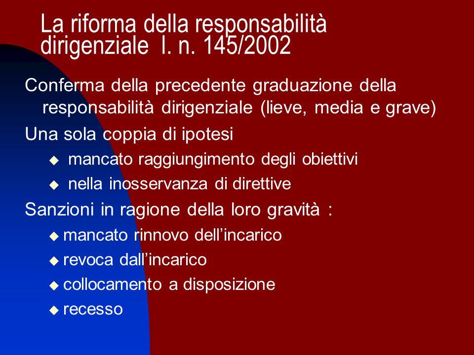 La riforma della responsabilità dirigenziale l. n. 145/2002 Conferma della precedente graduazione della responsabilità dirigenziale (lieve, media e gr