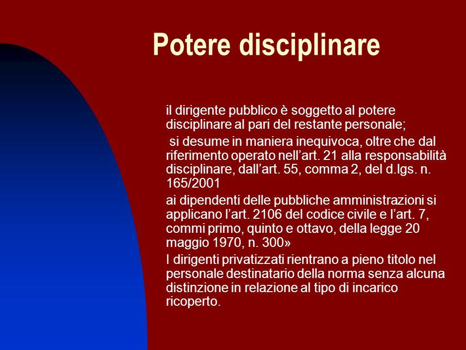 Potere disciplinare il dirigente pubblico è soggetto al potere disciplinare al pari del restante personale; si desume in maniera inequivoca, oltre che