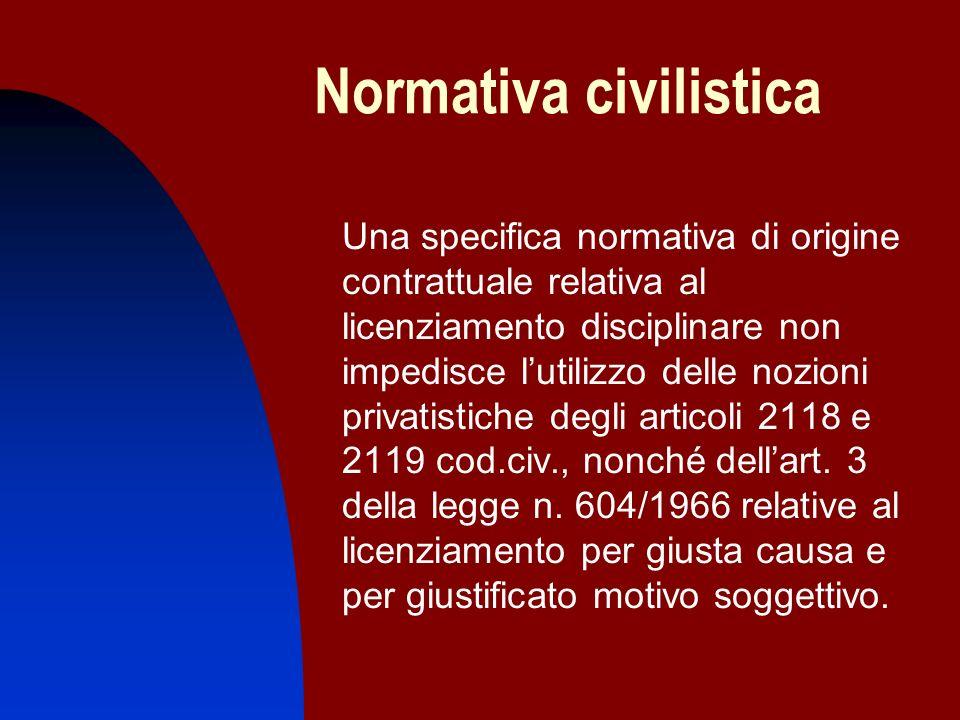Normativa civilistica Una specifica normativa di origine contrattuale relativa al licenziamento disciplinare non impedisce lutilizzo delle nozioni pri
