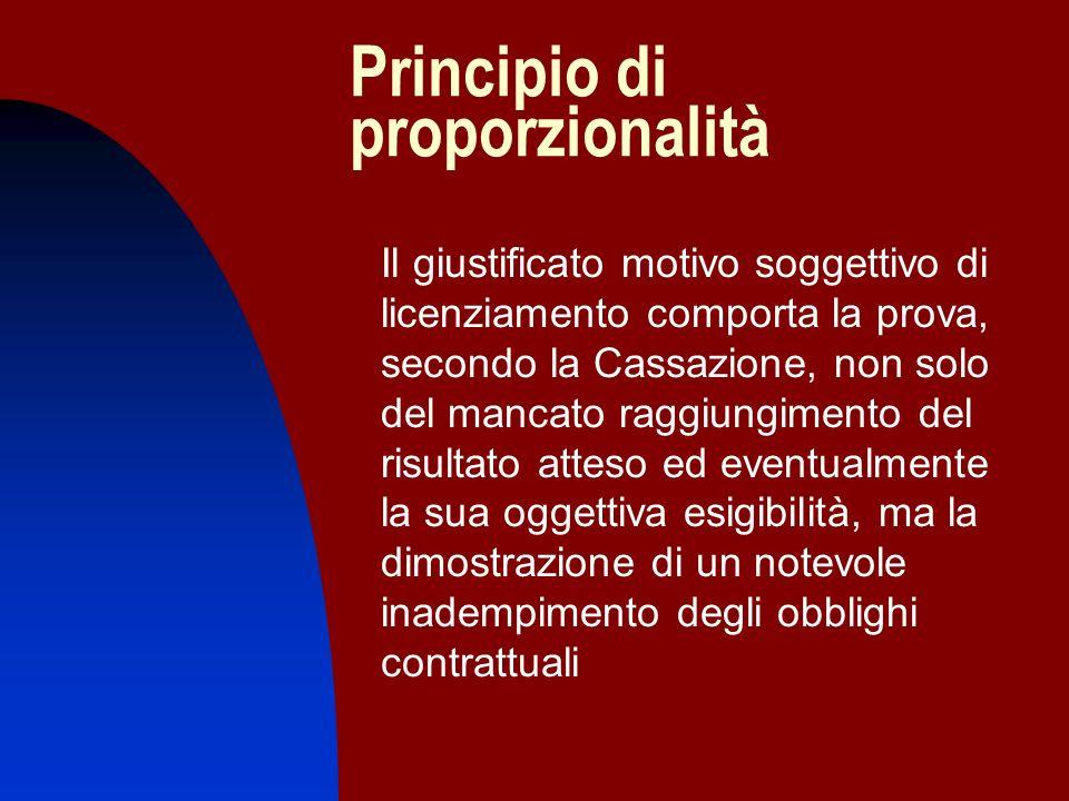Principio di proporzionalità Il giustificato motivo soggettivo di licenziamento comporta la prova, secondo la Cassazione, non solo del mancato raggiun