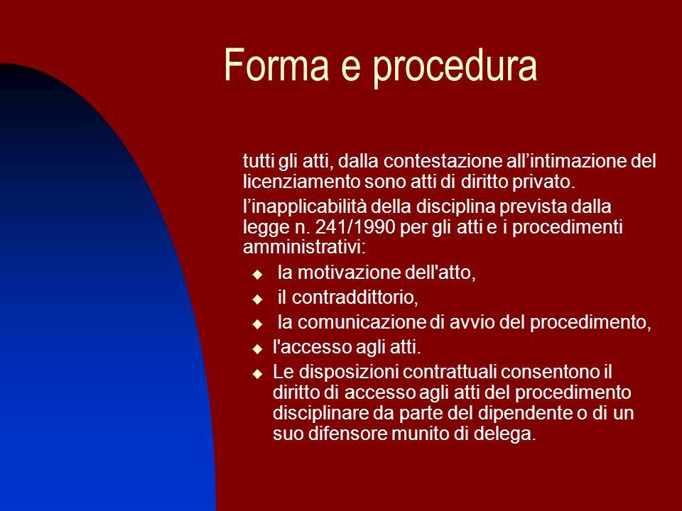 Forma e procedura tutti gli atti, dalla contestazione allintimazione del licenziamento sono atti di diritto privato. linapplicabilità della disciplina