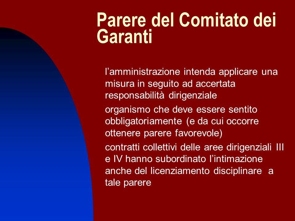 Parere del Comitato dei Garanti lamministrazione intenda applicare una misura in seguito ad accertata responsabilità dirigenziale organismo che deve e