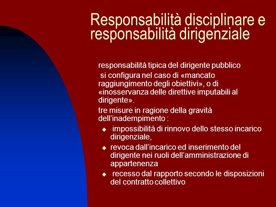 Responsabilità disciplinare e responsabilità dirigenziale responsabilità tipica del dirigente pubblico si configura nel caso di «mancato raggiungiment