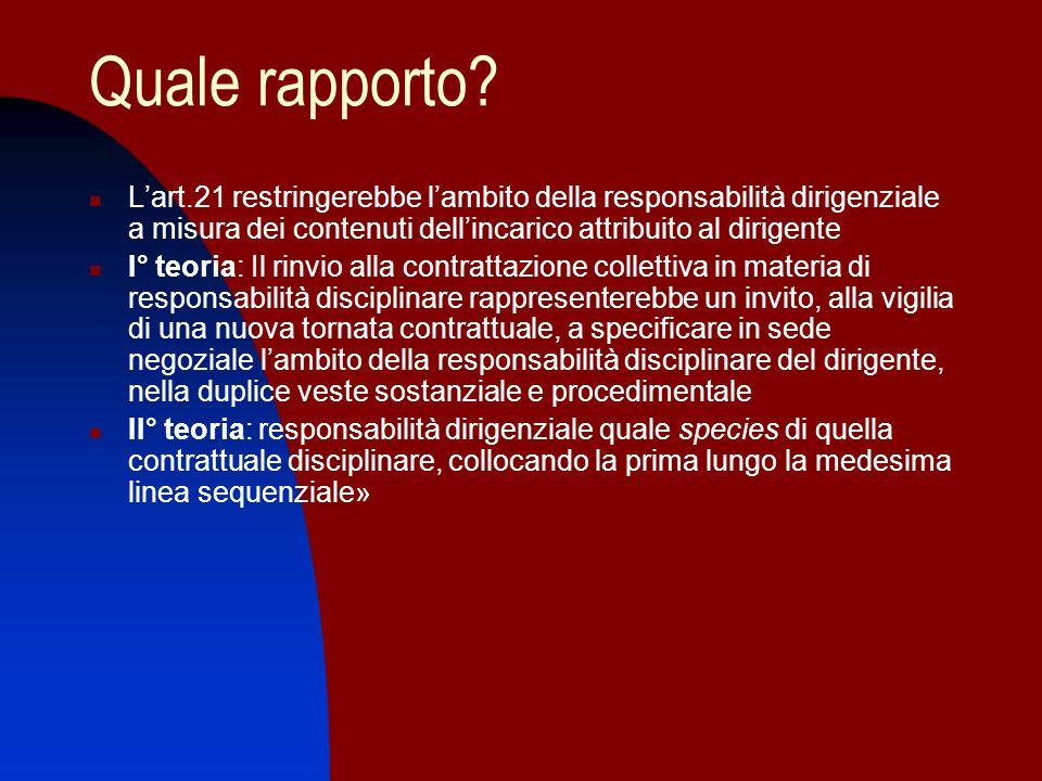 Quale rapporto? Lart.21 restringerebbe lambito della responsabilità dirigenziale a misura dei contenuti dellincarico attribuito al dirigente I° teoria