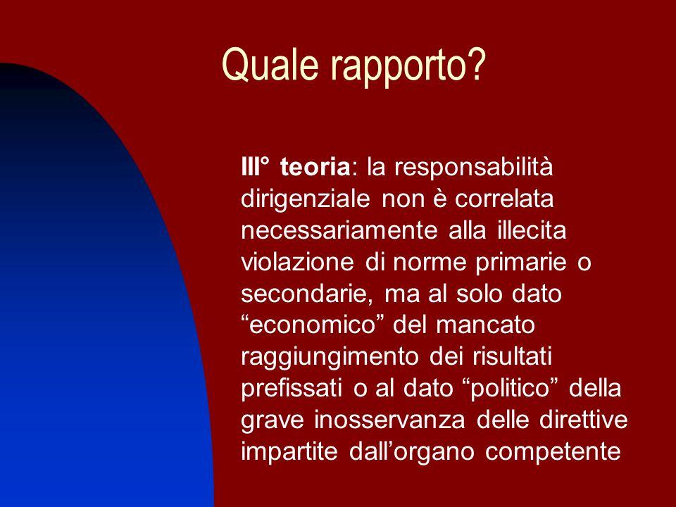 Quale rapporto? III° teoria: la responsabilità dirigenziale non è correlata necessariamente alla illecita violazione di norme primarie o secondarie, m