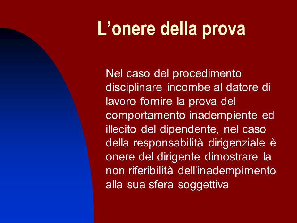 Lonere della prova Nel caso del procedimento disciplinare incombe al datore di lavoro fornire la prova del comportamento inadempiente ed illecito del