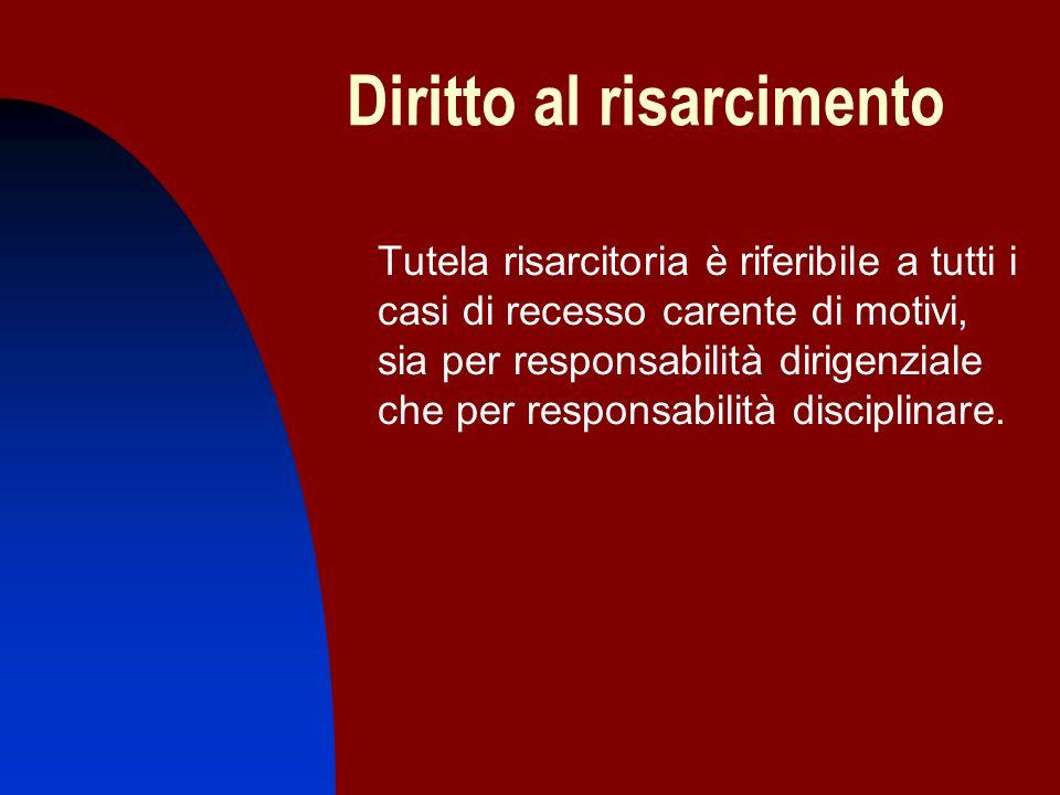 Diritto al risarcimento Tutela risarcitoria è riferibile a tutti i casi di recesso carente di motivi, sia per responsabilità dirigenziale che per resp