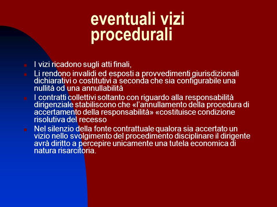 eventuali vizi procedurali I vizi ricadono sugli atti finali, Li rendono invalidi ed esposti a provvedimenti giurisdizionali dichiarativi o costitutiv