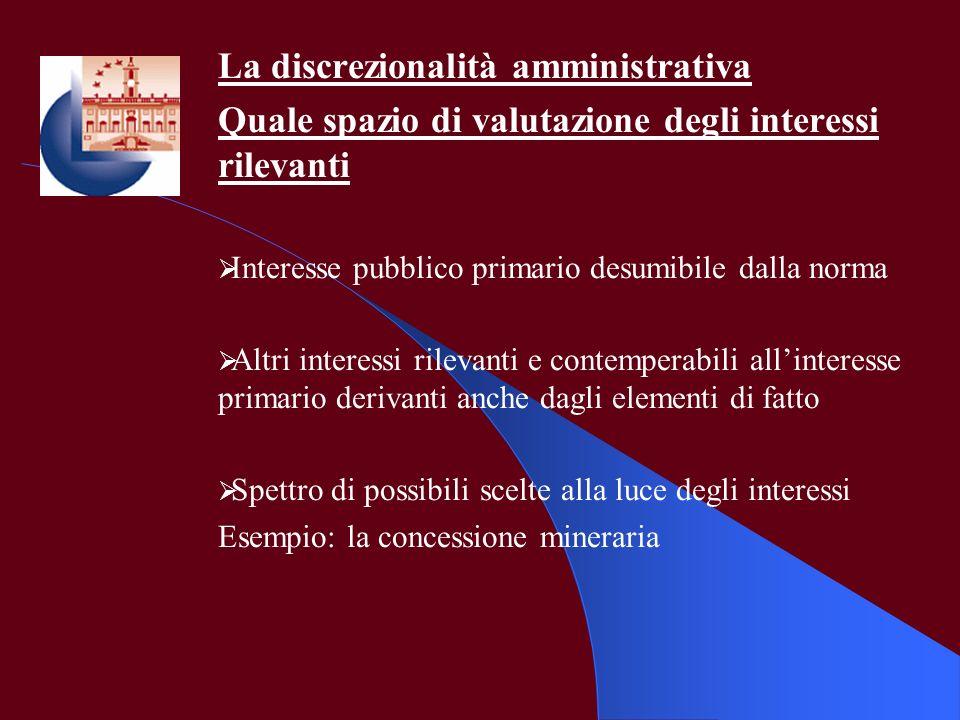 La discrezionalità amministrativa Quale spazio di valutazione degli interessi rilevanti Interesse pubblico primario desumibile dalla norma Altri inter