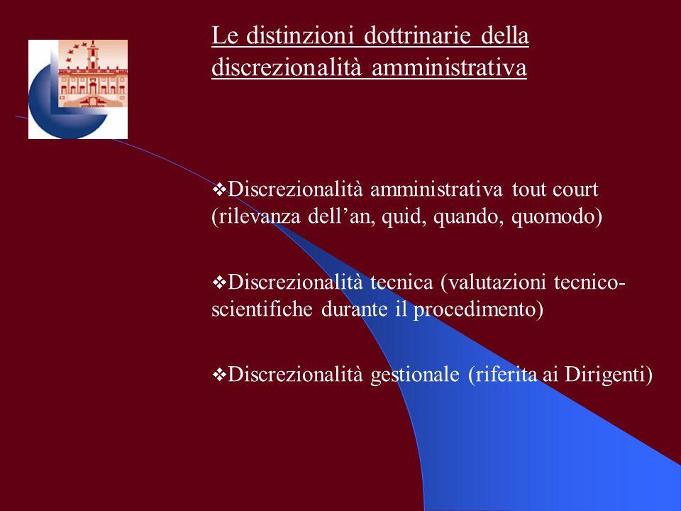 Le distinzioni dottrinarie della discrezionalità amministrativa Discrezionalità amministrativa tout court (rilevanza dellan, quid, quando, quomodo) Di