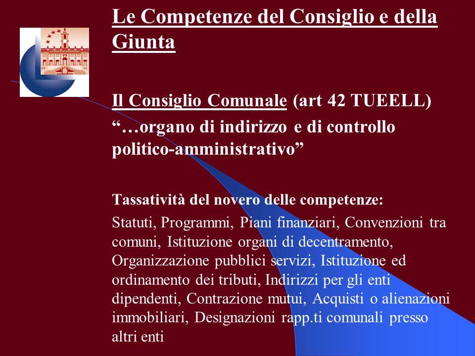 Le Competenze del Consiglio e della Giunta Il Consiglio Comunale (art 42 TUEELL) …organo di indirizzo e di controllo politico-amministrativo Tassativi