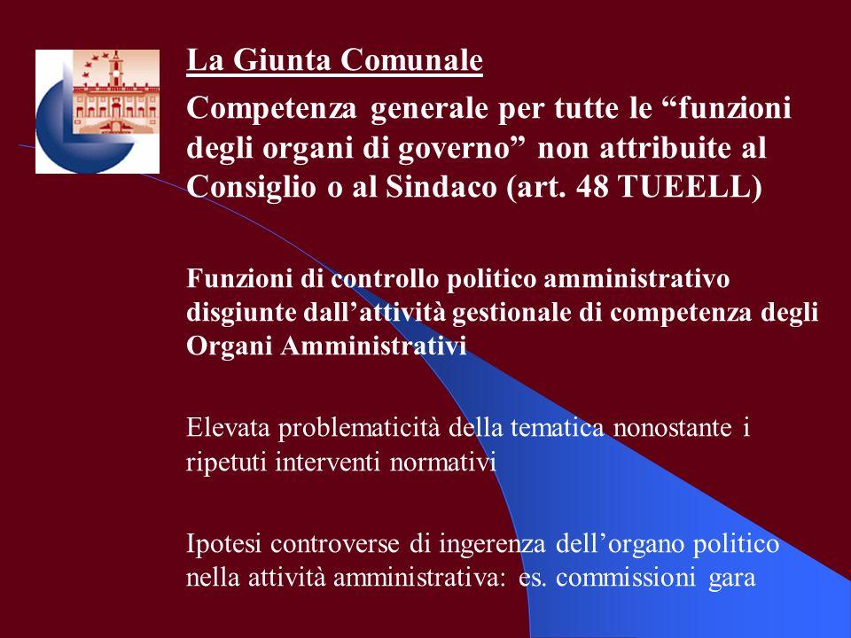 La Giunta Comunale Competenza generale per tutte le funzioni degli organi di governo non attribuite al Consiglio o al Sindaco (art. 48 TUEELL) Funzion