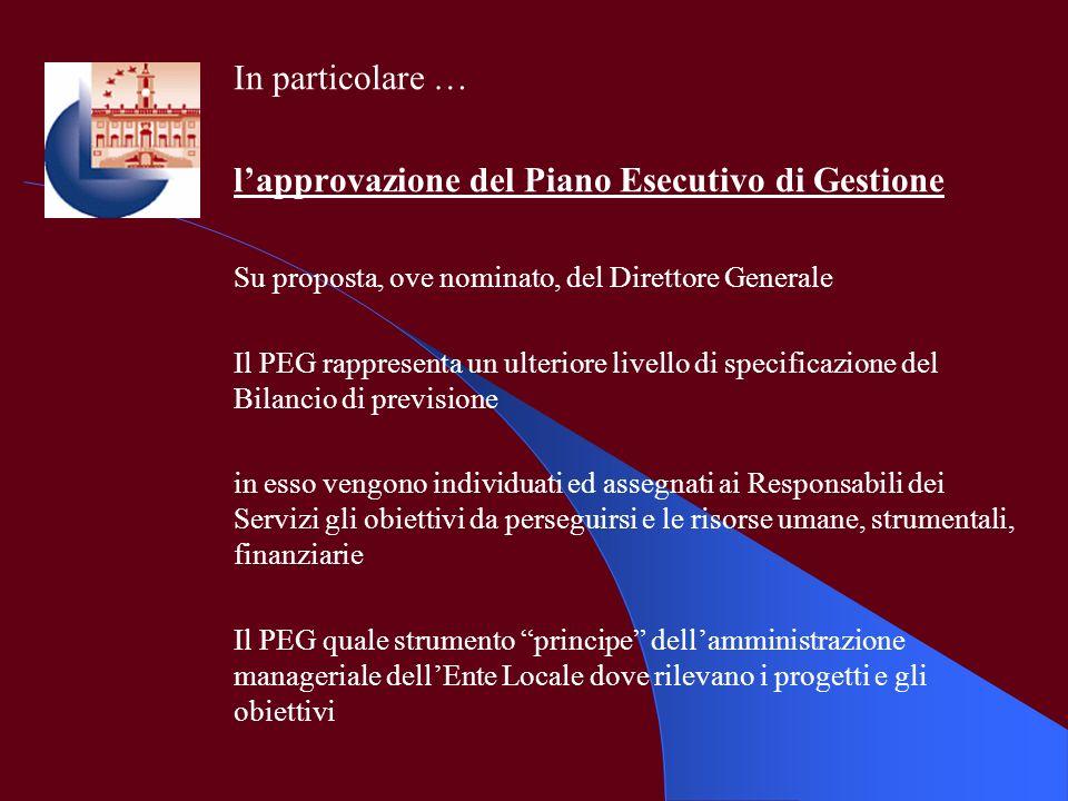 In particolare … lapprovazione del Piano Esecutivo di Gestione Su proposta, ove nominato, del Direttore Generale Il PEG rappresenta un ulteriore livel