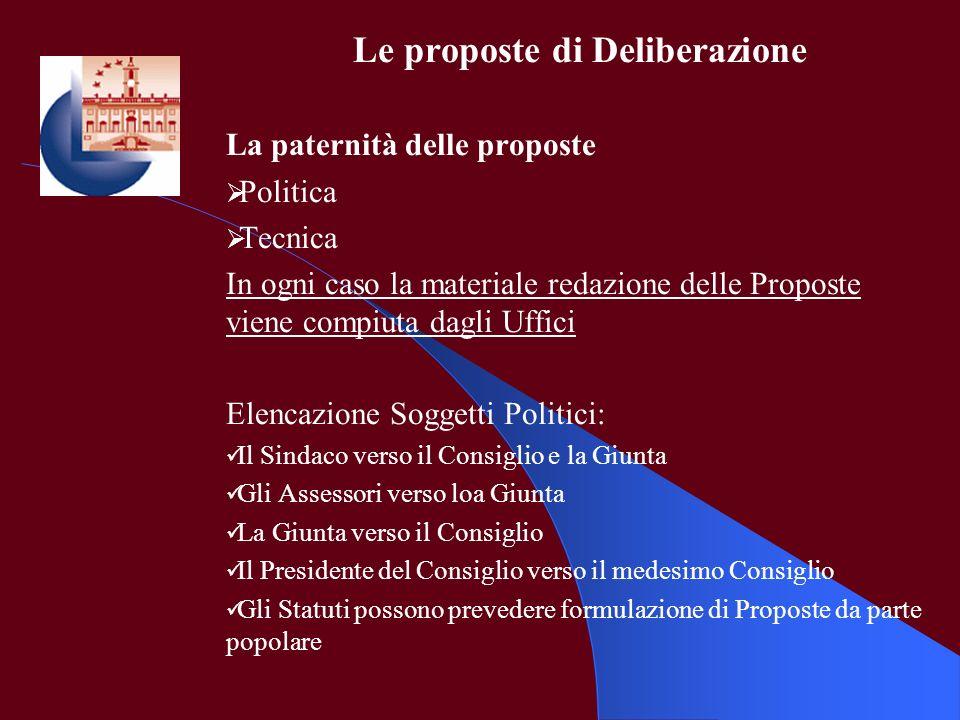 Le proposte di Deliberazione La paternità delle proposte Politica Tecnica In ogni caso la materiale redazione delle Proposte viene compiuta dagli Uffi