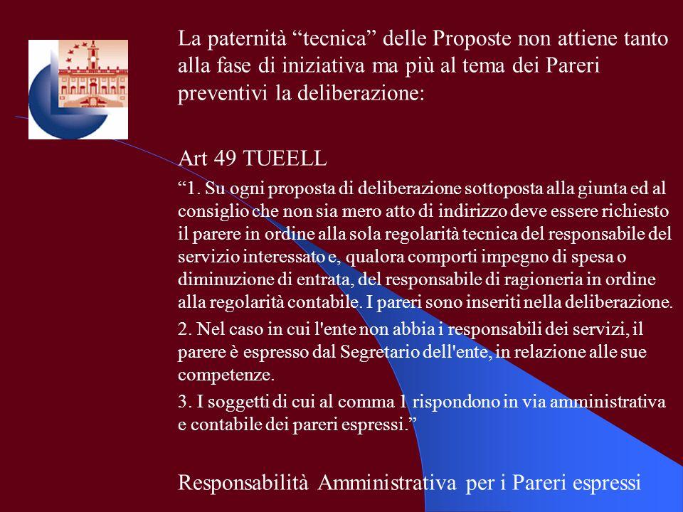 La paternità tecnica delle Proposte non attiene tanto alla fase di iniziativa ma più al tema dei Pareri preventivi la deliberazione: Art 49 TUEELL 1.