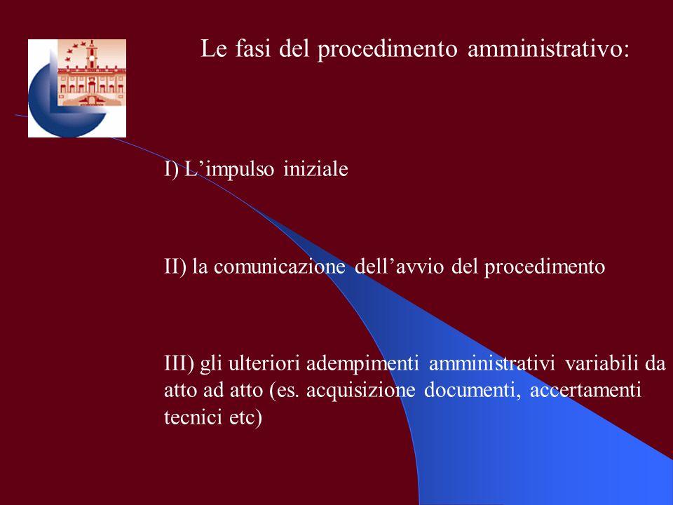 Le fasi del procedimento amministrativo: I) Limpulso iniziale II) la comunicazione dellavvio del procedimento III) gli ulteriori adempimenti amministr