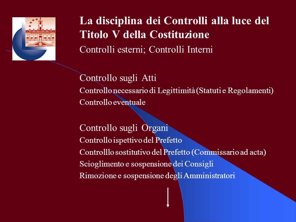 La disciplina dei Controlli alla luce del Titolo V della Costituzione Controlli esterni; Controlli Interni Controllo sugli Atti Controllo necessario d