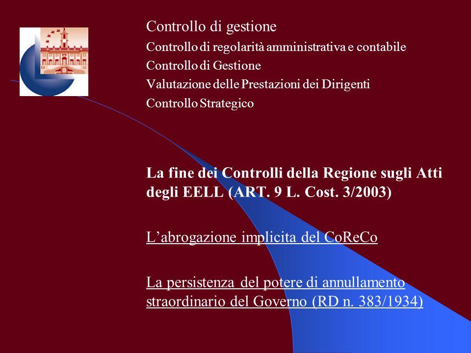 Controllo di gestione Controllo di regolarità amministrativa e contabile Controllo di Gestione Valutazione delle Prestazioni dei Dirigenti Controllo S