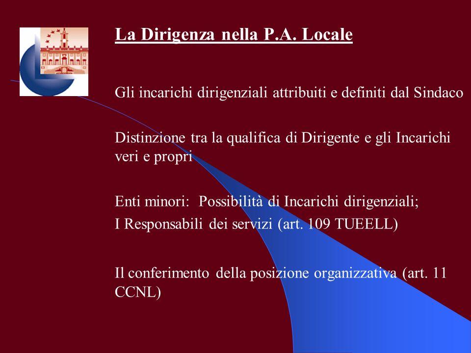 La Dirigenza nella P.A. Locale Gli incarichi dirigenziali attribuiti e definiti dal Sindaco Distinzione tra la qualifica di Dirigente e gli Incarichi