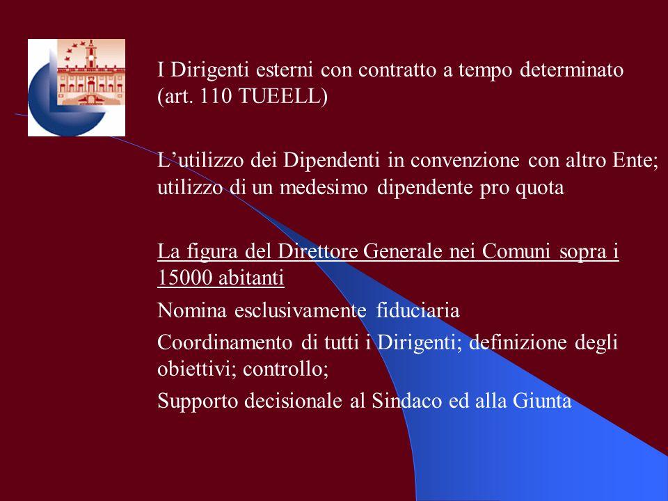 I Dirigenti esterni con contratto a tempo determinato (art. 110 TUEELL) Lutilizzo dei Dipendenti in convenzione con altro Ente; utilizzo di un medesim