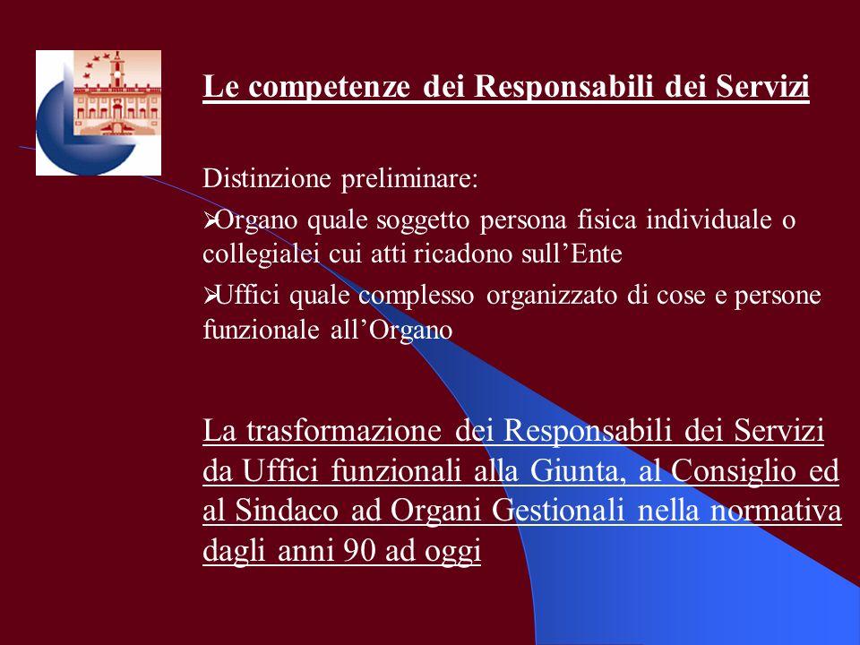 Le competenze dei Responsabili dei Servizi Distinzione preliminare: Organo quale soggetto persona fisica individuale o collegialei cui atti ricadono s