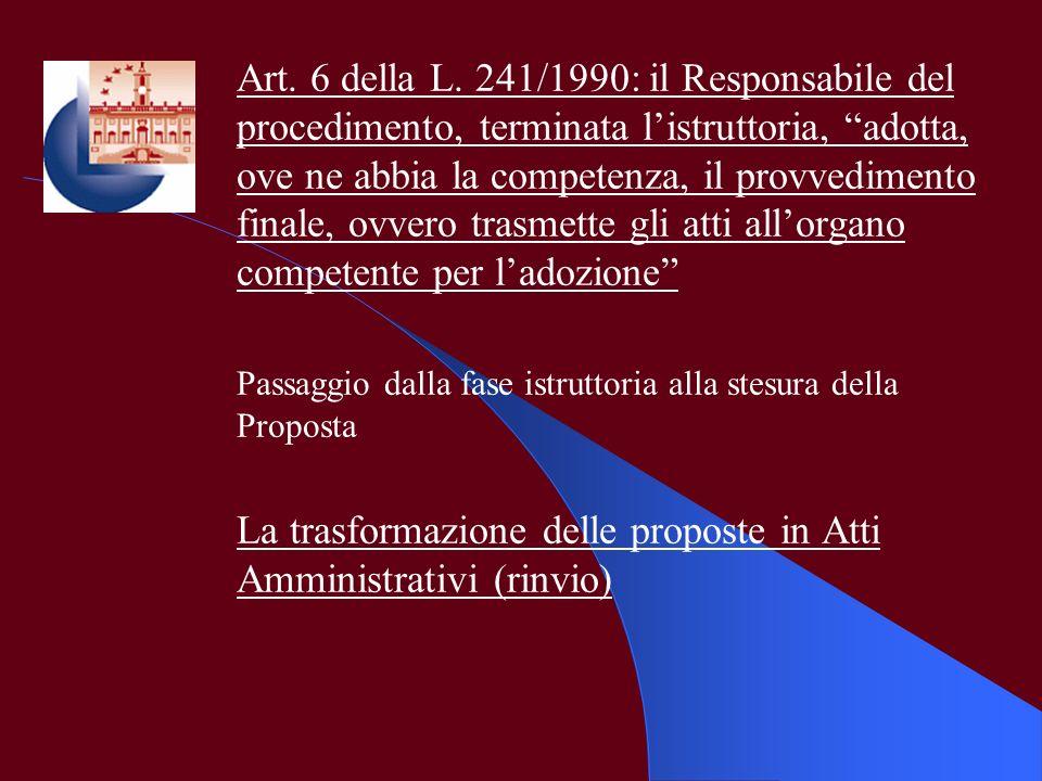 Art. 6 della L. 241/1990: il Responsabile del procedimento, terminata listruttoria, adotta, ove ne abbia la competenza, il provvedimento finale, ovver