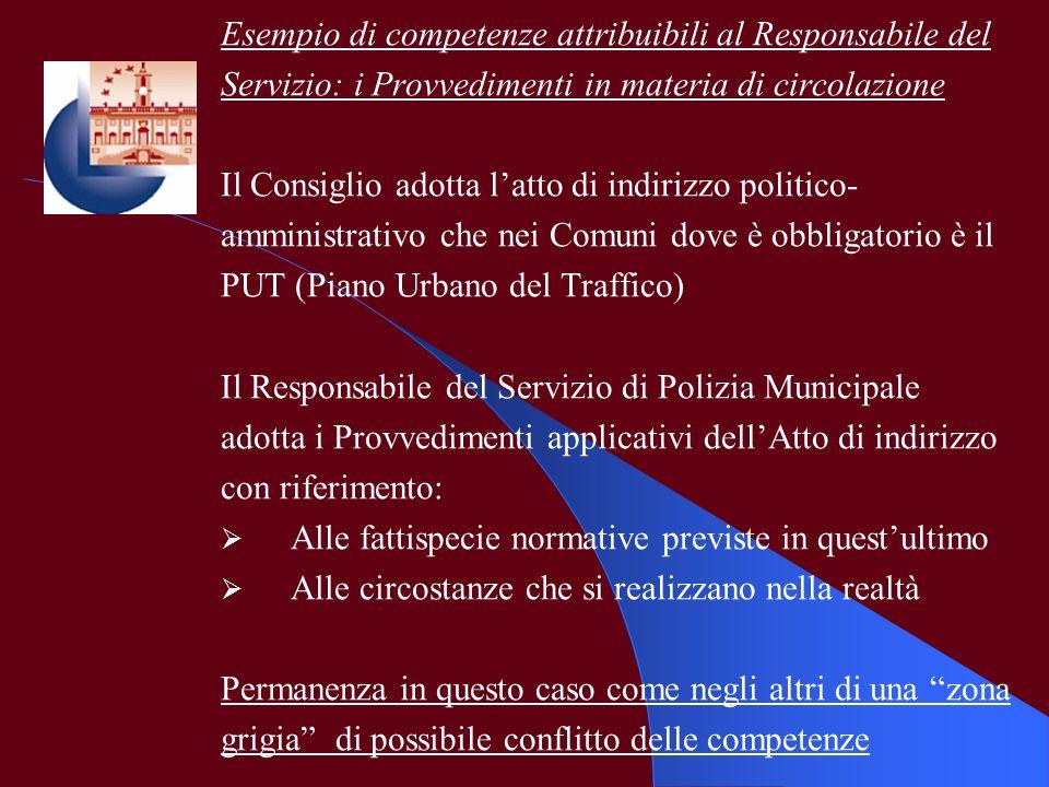 Esempio di competenze attribuibili al Responsabile del Servizio: i Provvedimenti in materia di circolazione Il Consiglio adotta latto di indirizzo pol