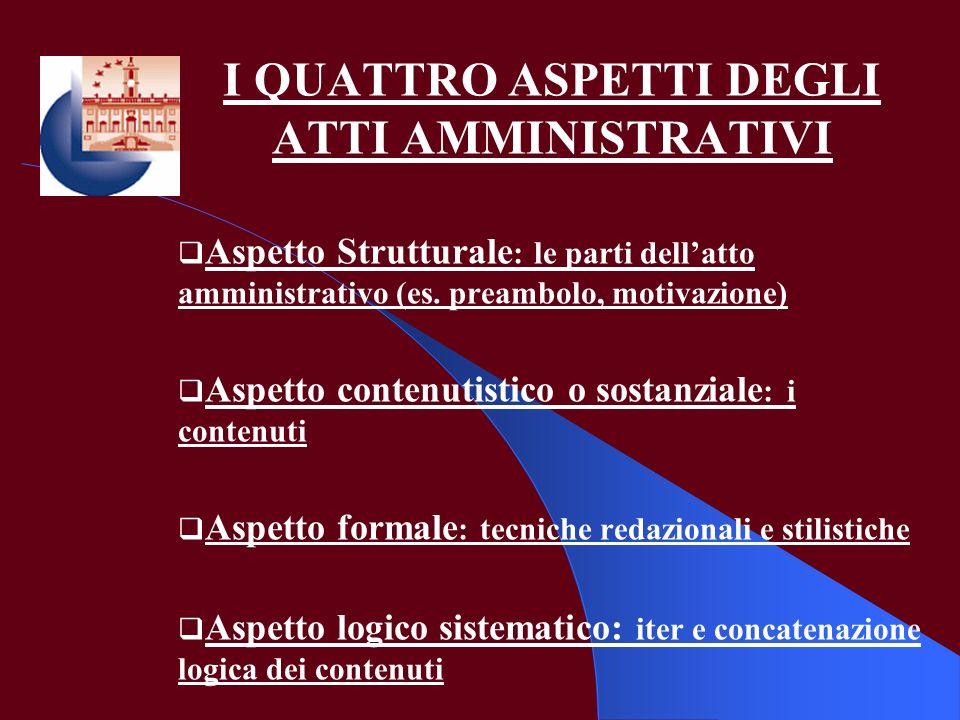 I QUATTRO ASPETTI DEGLI ATTI AMMINISTRATIVI Aspetto Strutturale : le parti dellatto amministrativo (es. preambolo, motivazione) Aspetto contenutistico