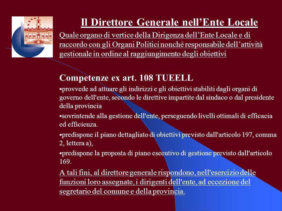Il Direttore Generale nellEnte Locale Quale organo di vertice della Dirigenza dellEnte Locale e di raccordo con gli Organi Politici nonché responsabil