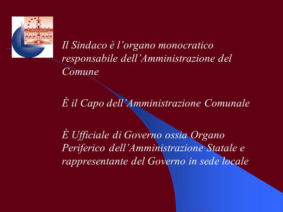 Il Sindaco è lorgano monocratico responsabile dellAmministrazione del Comune È il Capo dellAmministrazione Comunale È Ufficiale di Governo ossia Organ