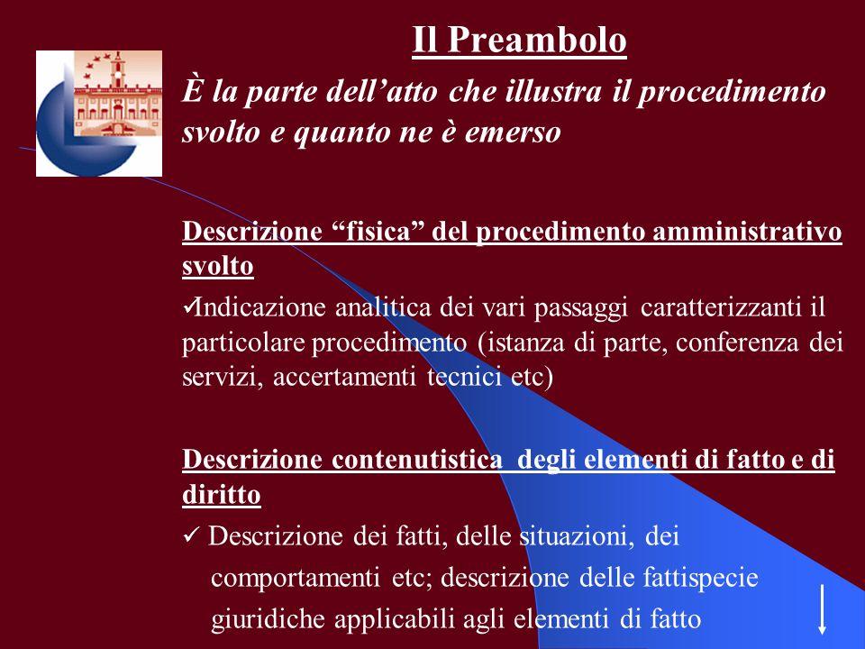Il Preambolo È la parte dellatto che illustra il procedimento svolto e quanto ne è emerso Descrizione fisica del procedimento amministrativo svolto In