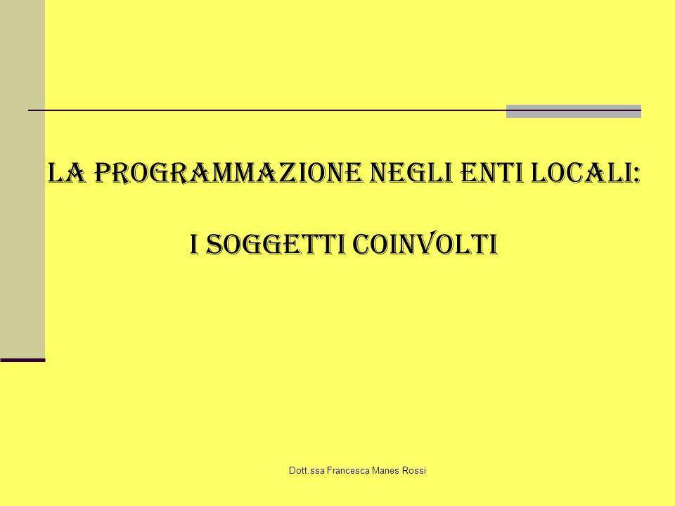 Dott.ssa Francesca Manes Rossi La programmazione negli enti locali: I soggetti coinvolti