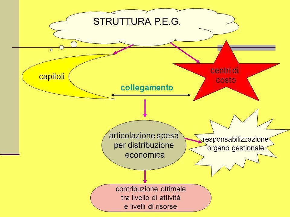 Dott.ssa Francesca Manes Rossi STRUTTURA P.E.G. centri di costo collegamento capitoli responsabilizzazione organo gestionale contribuzione ottimale tr