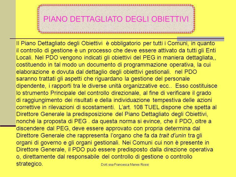 Dott.ssa Francesca Manes Rossi PIANO DETTAGLIATO DEGLI OBIETTIVI Il Piano Dettagliato degli Obiettivi è obbligatorio per tutti i Comuni, in quanto il