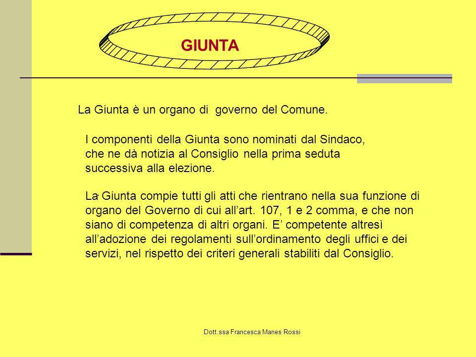 Dott.ssa Francesca Manes Rossi GIUNTA La Giunta è un organo di governo del Comune. I componenti della Giunta sono nominati dal Sindaco, che ne dà noti