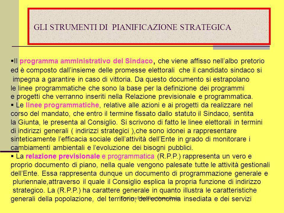 Dott.ssa Francesca Manes Rossi GLI STRUMENTI DI PIANIFICAZIONE STRATEGICA Il programma amministrativo del Sindaco, che viene affisso nellalbo pretorio