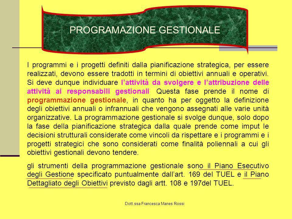Dott.ssa Francesca Manes Rossi PROGRAMAZIONE GESTIONALE I programmi e i progetti definiti dalla pianificazione strategica, per essere realizzati, devo