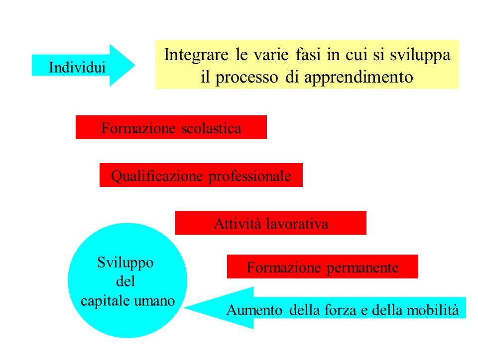 Formazione scolastica Individui Integrare le varie fasi in cui si sviluppa il processo di apprendimento Qualificazione professionale Attività lavorativa Formazione permanente Sviluppo del capitale umano Aumento della forza e della mobilità