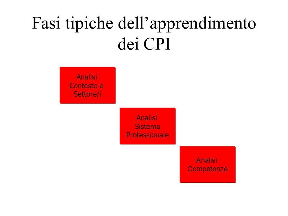 Fasi tipiche dellapprendimento dei CPI Analisi Contesto e Settore/i Analisi Sistema Professionale Analisi Competenze
